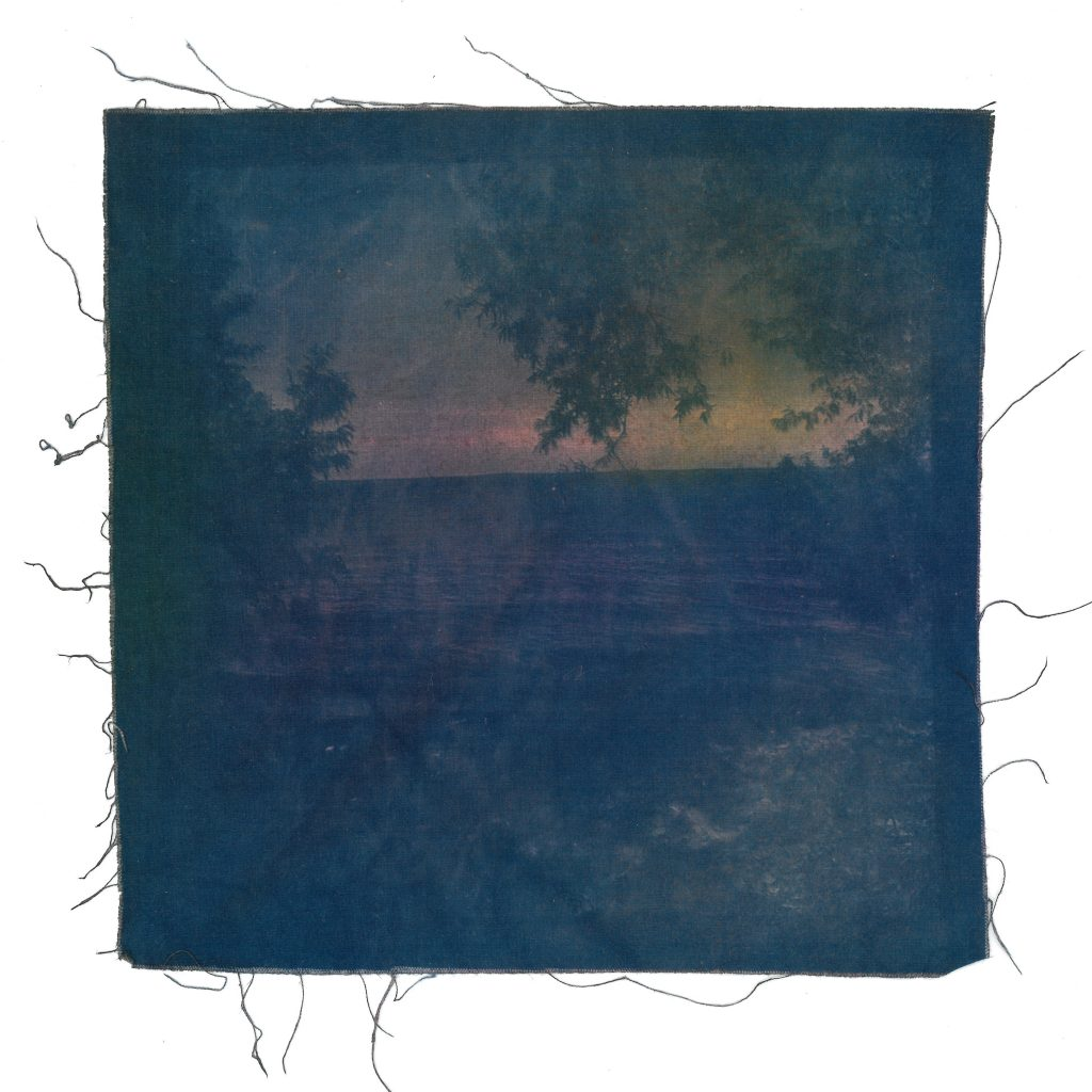 Dylan Miner, biitaw // in the middlefromWater is Sacred // Trees are Relatives, 2018. Inks, dyes, minerals, pigments, earth, smoke, bitumen and cyanotype on cotton.