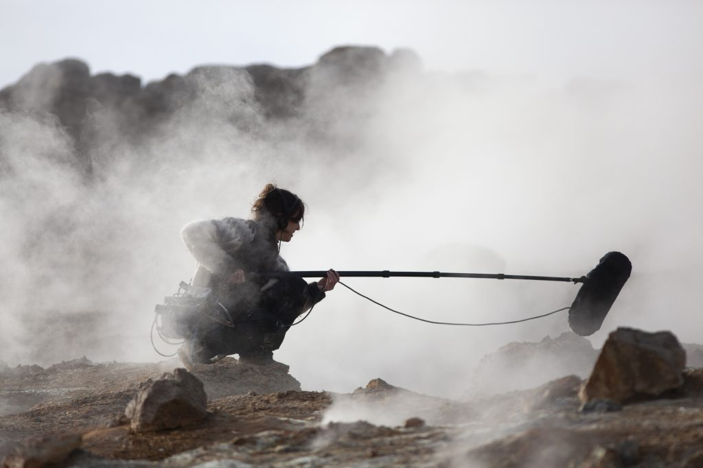 Jana Winderen conducting field recordings in Iceland. Photo: Finnbogi Petursson.